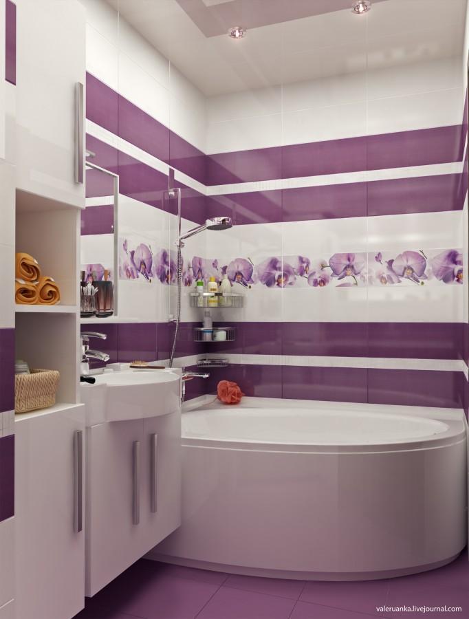 Дизайн плитки в ванной сиреневого цвета